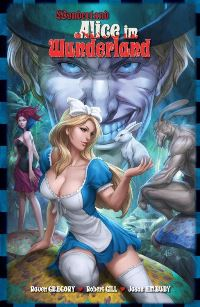 Alice sitzt mit Hasen in der Hand