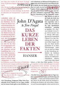 Das kurze Leben der Fakten, Rechte bei Hanser Verlag